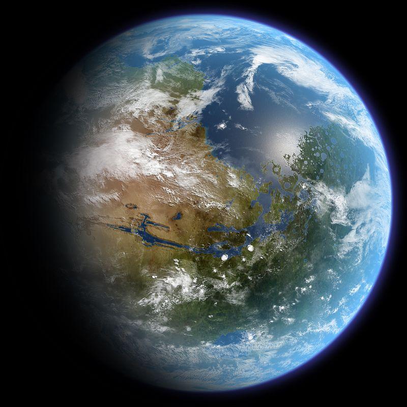 Voici une vision d'artiste de la planète Mars avec beaucoup plus d'eau à sa surface ainsi qu'une atmosphère beaucoup plus dense. La planète Mars anciennement vivable est une hypothèse qui n'est pas négligée et qui est même soutenue par la présente découverte. «TerraformedMarsGlobeRealistic» par Daein Ballard — Travail personnel. Sous licence CC BY-SA 3.0 via Wikimedia Commons - https://commons.wikimedia.org/wiki/File:TerraformedMarsGlobeRealistic.jpg#/media/File:TerraformedMarsGlobeRealistic.jpg
