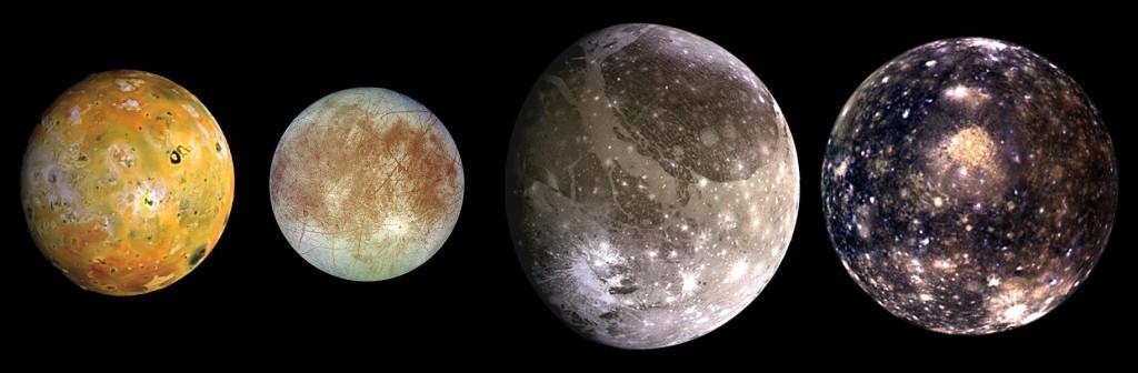 «Galilean satellites» par Image courtesy NASA/JPL-Caltech. — PIA01299. Sous licence Domaine public via Wikimedia Commons - https://commons.wikimedia.org/wiki/File:Galilean_satellites.jpg#/media/File:Galilean_satellites.jpg