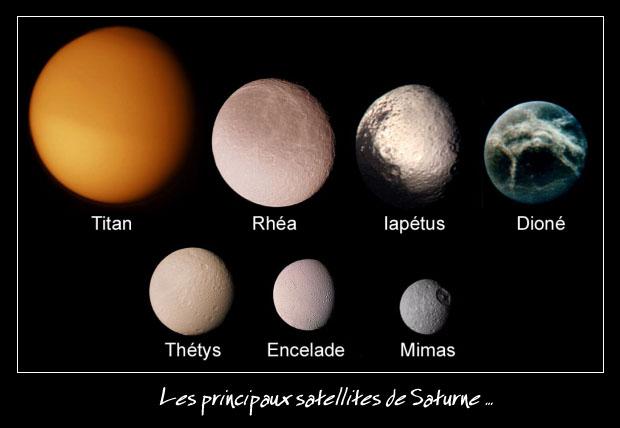 Voici les 7 plus gros satellites de Saturne. Avec son diamètre de 5 200 km, Titan est le deuxième plus gros satellite du système Solaire derrière Ganymède, il est 2% plus grand que celui de Mercure.