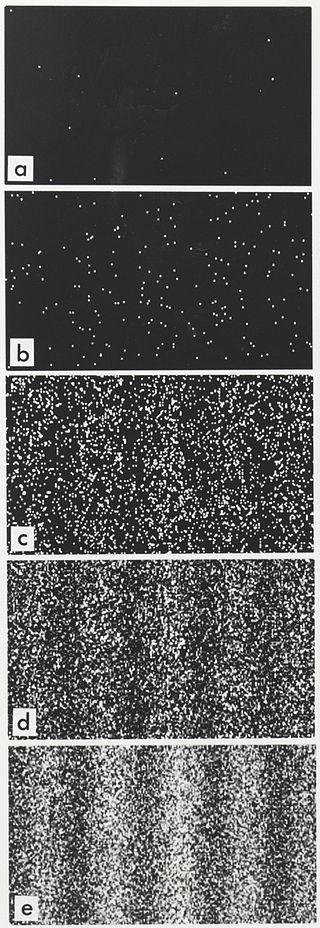 Voici l'expérience des fentes de Young réalisée avec des électrons. Les électrons sont envoyés un par un et passent en théorie à travers l'une ou l'autre fente. Au fur et à mesure que les électrons sont envoyés, on voit se dessiner une figure de diffraction propre aux ondes. Les électrons sont ils des ondes ? Ou bien de la matière ? [«Double slit simulated». Sous licence Domaine public via Wikimedia Commons - https://commons.wikimedia.org/wiki/File:Double_slit_simulated.jpg#/media/File:Double_slit_simulated.jpg]