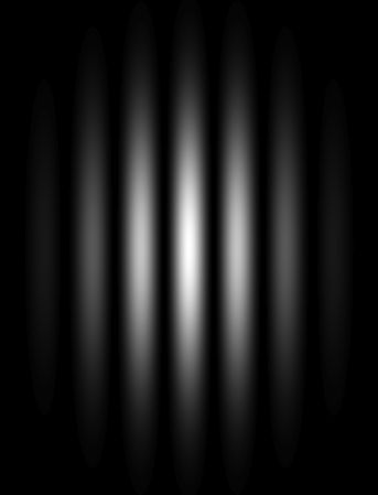 Figure de diffraction observée à l'écran. [« Double slit simulated ». Sous licence Domaine public via Wikimedia Commons - https://commons.wikimedia.org/wiki/File:Double_slit_simulated.jpg#/media/File:Double_slit_simulated.jpg]