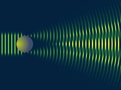 Voici une diffraction réalisée par un objet sphérique. Nous constatons que la diffusion se fait aux deux bords de la balle, entraînant des interférences.