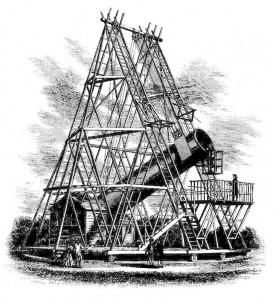 Gravure représentant le télescope d'Herschel de 40 pieds (12 m) de focale et de 48 pouces (122 cm) d'ouverture [Source : Wikipedia]