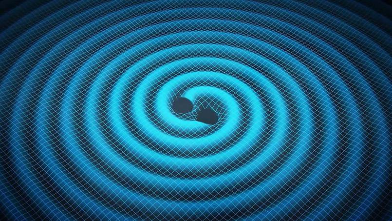 Image représentant les ondes gravitationnelles produites par un système oscillant. On voit la similitude avec les ondes de surface en eau plate.
