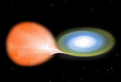 Dessin d'artiste d'une nova. La matière de la géante rouge s'accrete autour de la naine blanche et finit par déclencher une réaction de fusion thermonucléaire.