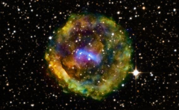 New Chandra observations of the G11.2-0.3 supernova remnant in our Galaxy have stripped away its connection to an event recorded by the Chinese in 386 CE. Recent Chandra data show that dense gas clouds lie along the line of sight from the supernova remnant to Earth, obscuring it in optical wavelengths. This image of G11.2-0.3 shows low-energy X-rays in red, the medium range in green, and the high-energy X-rays detected by Chandra in blue. The X-ray data have been overlaid on an optical field from the Digitized Sky Survey, revealing stars in the foreground.